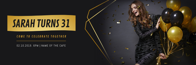 Black and Gold Celebration Email Header template