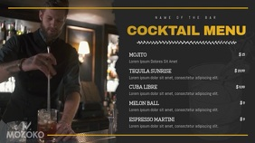 Black and Gold Cocktail Menu Digital Display template