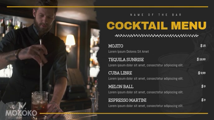 Black and Gold Cocktail Menu Digital Display