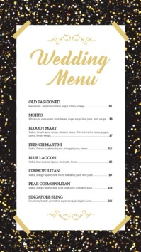 Black and Gold Digital Display Cocktail Menu template