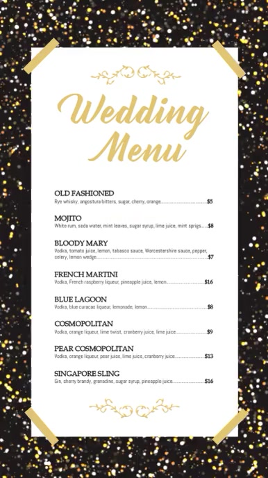 Black and Gold Digital Display Cocktail Menu