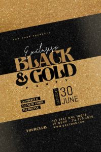 BLACK And GOLD Flyer Template แบนเนอร์ 4' × 6'
