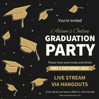 Black and gold graduation party invitation Instagram-bericht template
