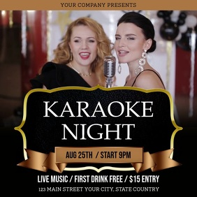 Black and Gold Karaoke Night Square Video