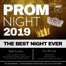 Black and Gold Prom Night Invitation Square V
