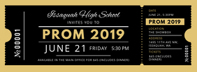 Black and Gold Prom Night Ticket Facebook Cover Photo template