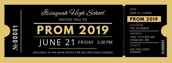 Black and Gold Prom Night Ticket Facebook-omslagfoto template