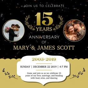 Black and Gold Romantic Anniversary Square Vi