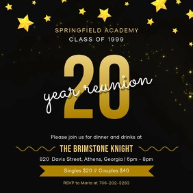 Black and Gold School Reunion Party Invite