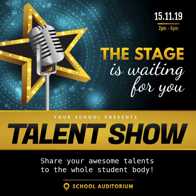 Black and Gold Talent Show Square Video Quadrato (1:1) template