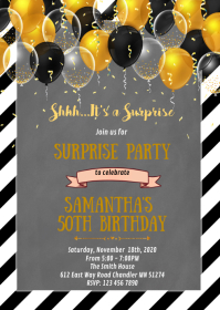 Black and gold theme party invitation A6 template