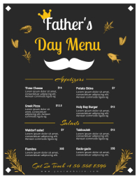 Black and Golden Father's Day Menu Flyer (US-Letter) template