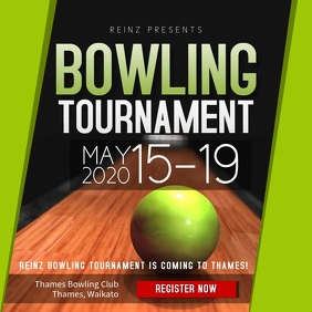 Black and Green Bowling Tournament Square Vid template