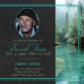 Black and Green Obituary Square Video Carré (1:1) template