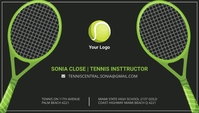 Black and Green Tennis Instructor Business Ca Wizytówka template