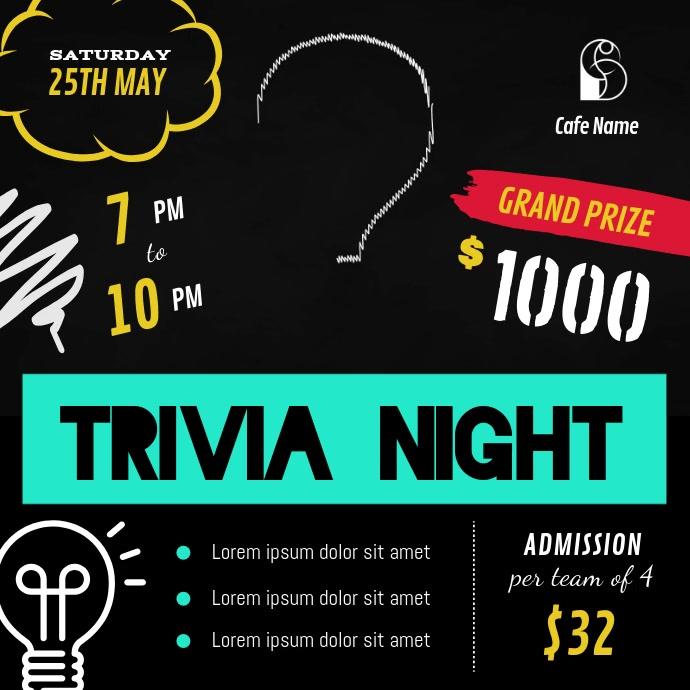 Black and Green Trivia Night Square Video