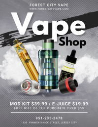 Black and Grey Modern Vape Shop Flyer Templat template