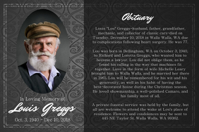 Black and Grey Obituary Landscape Poster