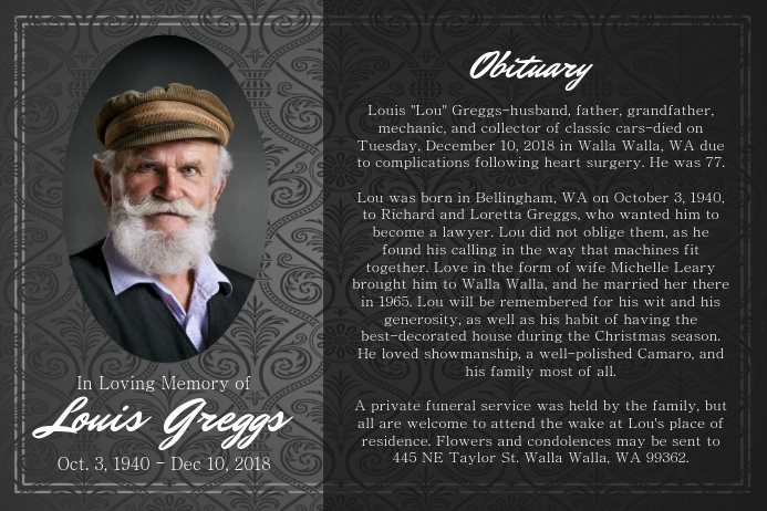 Black and Grey Obituary Landscape Poster Plakat template