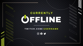 Black and Neon Green Offline Twitch Banner template