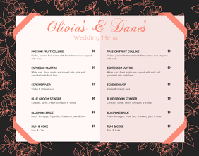 Black and Orange Cocktail Menu