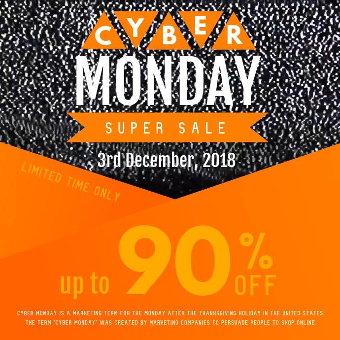 Black and Orange Cyber Monday Square Video