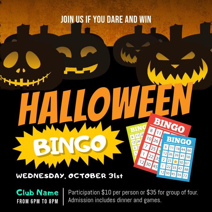 Black and Orange Halloween Bingo Square Video