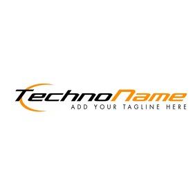 black and orange technology company logo Логотип template