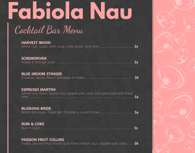 Black and Pink Cocktail Menu