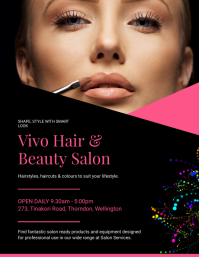 Black and Pink Hair Salon Flyer