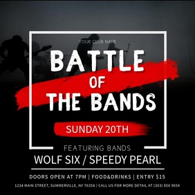 Black and Red Battle of the Bands Square Vide