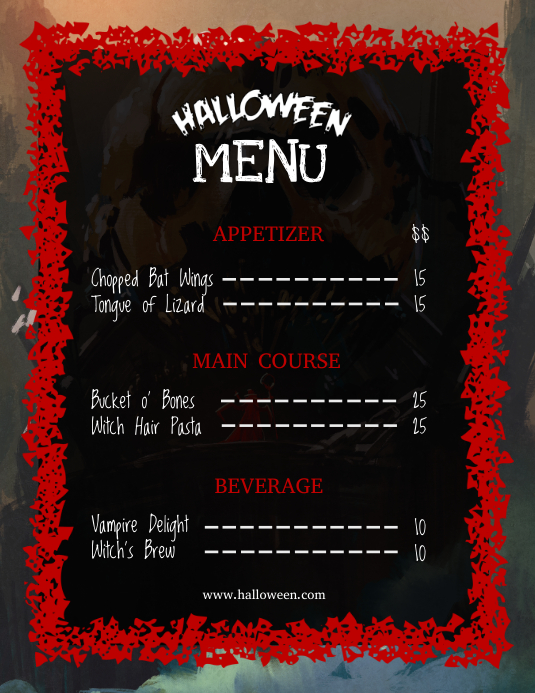 Black and Red Flyer Halloween Menu Ulotka (US Letter) template