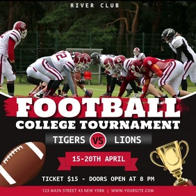 Black and Red Football College Tournament Squ