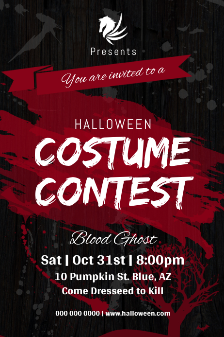 Black and Red Halloween Costume Contest Poster