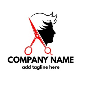 Black and Red logo barber shop icon