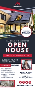 Black and Red Real Estate Open House Banner