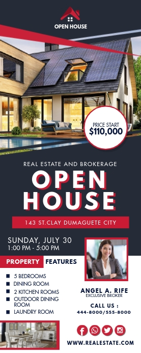 Black and Red Real Estate Open House Banner Oprolbanier 2'×5' template