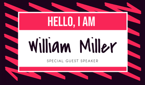 Black and Red Special Guest Speaker Tag Cartellino template