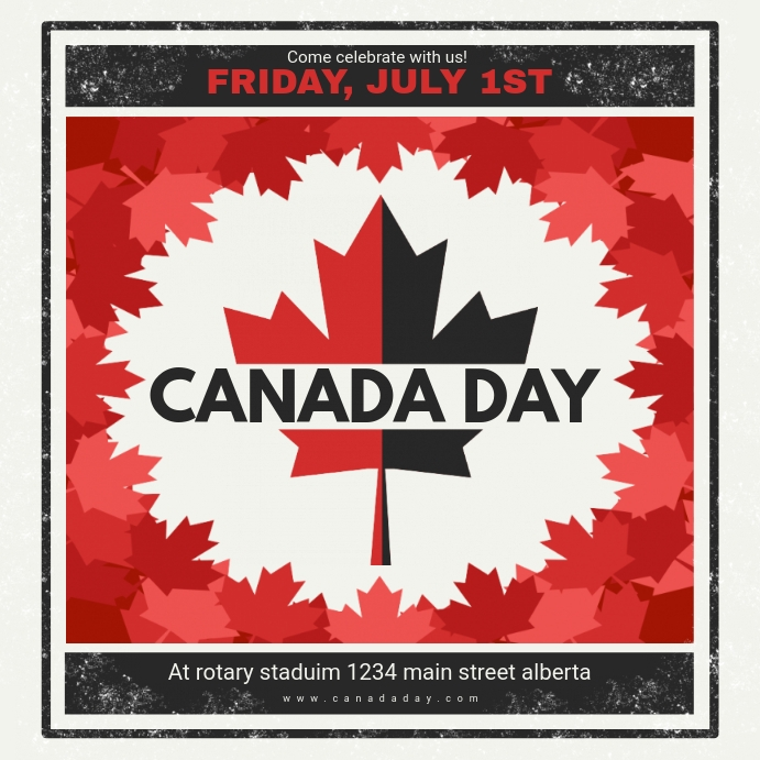 Black and Red Vintage Canada Day Ad