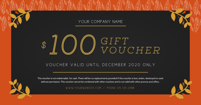 Black and Rust Gift Voucher