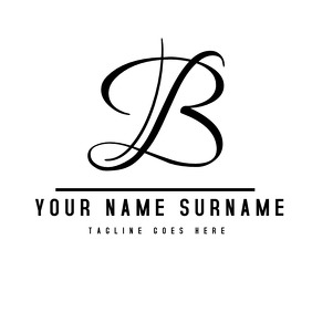 Black and white alphanumeric signature logo template