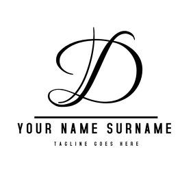 Black and white alphanumeric signature logo Logotipo template
