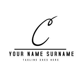 Black and white alphanumeric signature logo