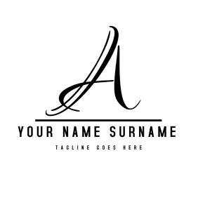 Black and white alphanumeric signature logo