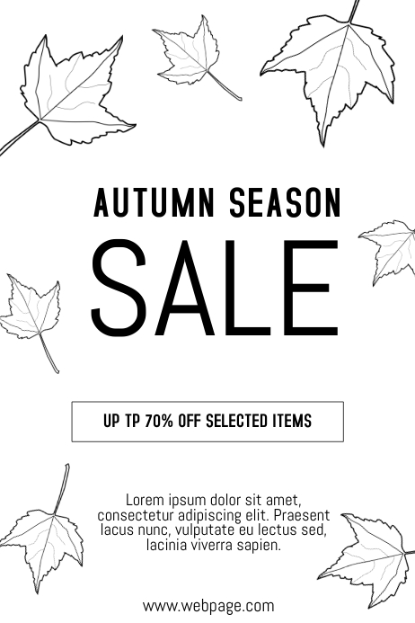 Black And White Autumn Fall Sale Flyer Template  Postermywall