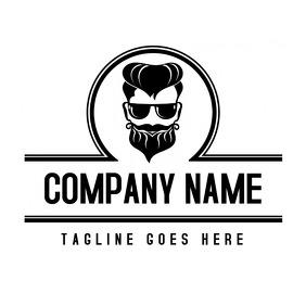 black and white barber logo design