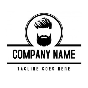 black and white barber logo design template
