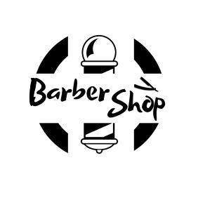 Black and White Barber shop logo