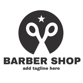 Black and white Barber shop logo