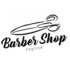Black and White Barber Shop with scissors